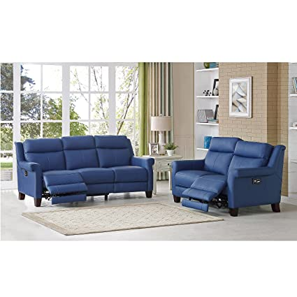 Amax Leather Dolce Power Reclining Sofa And Loveseat With Power Headrest  And Power Lumbar, Blue