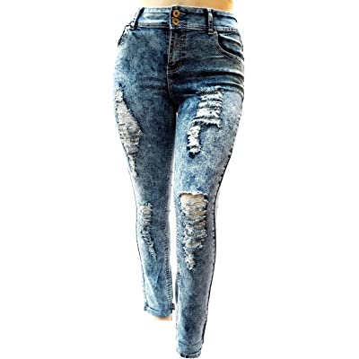 1826 Jeans 55K Women's Plus Size Destroy Ripped Distressed Blue Denim Jeans Acid Wash Pants