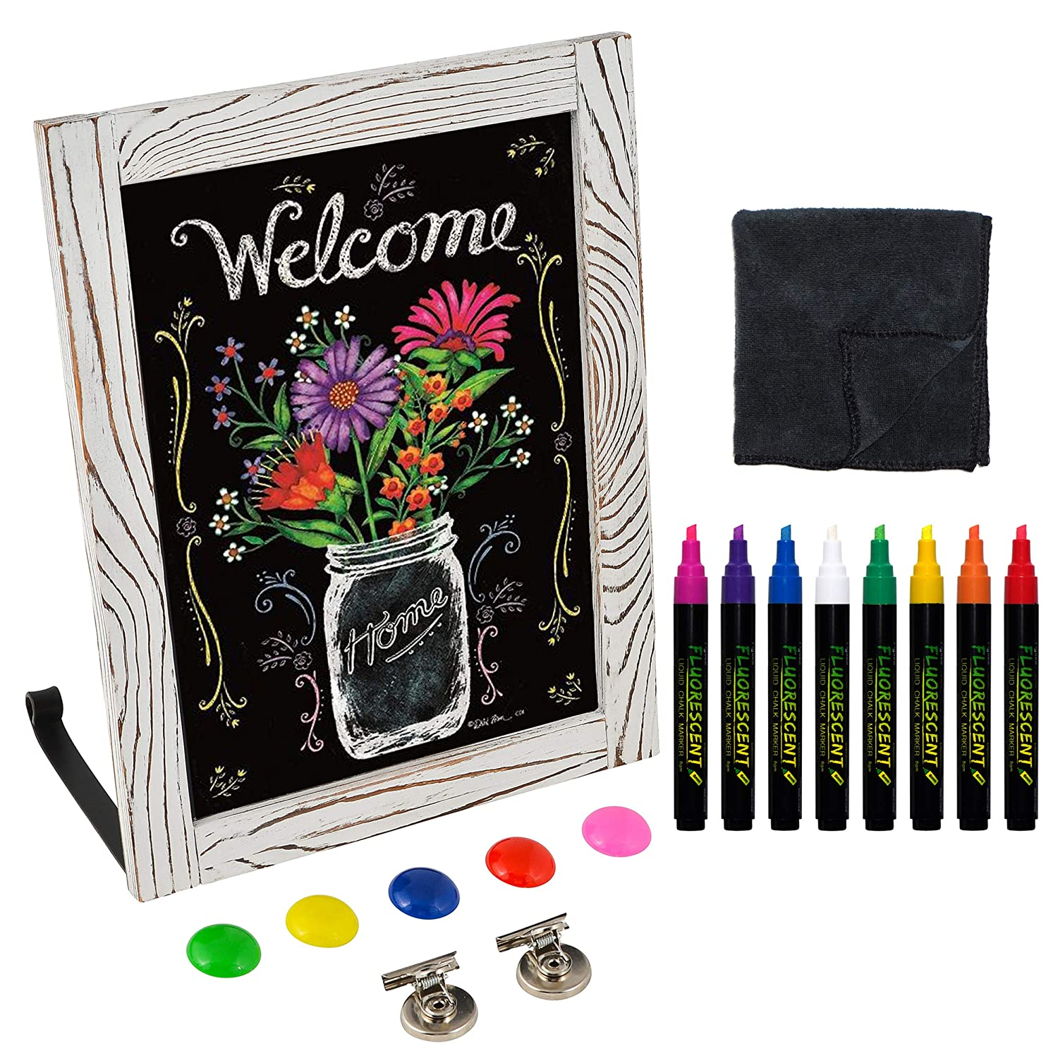"""Multi Use Chalkboard / Freestanding, Hangs on Walls and Refrigerators / Complete Bundle / Includes 8 Liquid Chalk Markers, Attachable Stand, Microfiber Towel, and Magnets (11""""x14"""" Rustic Whitewash)"""