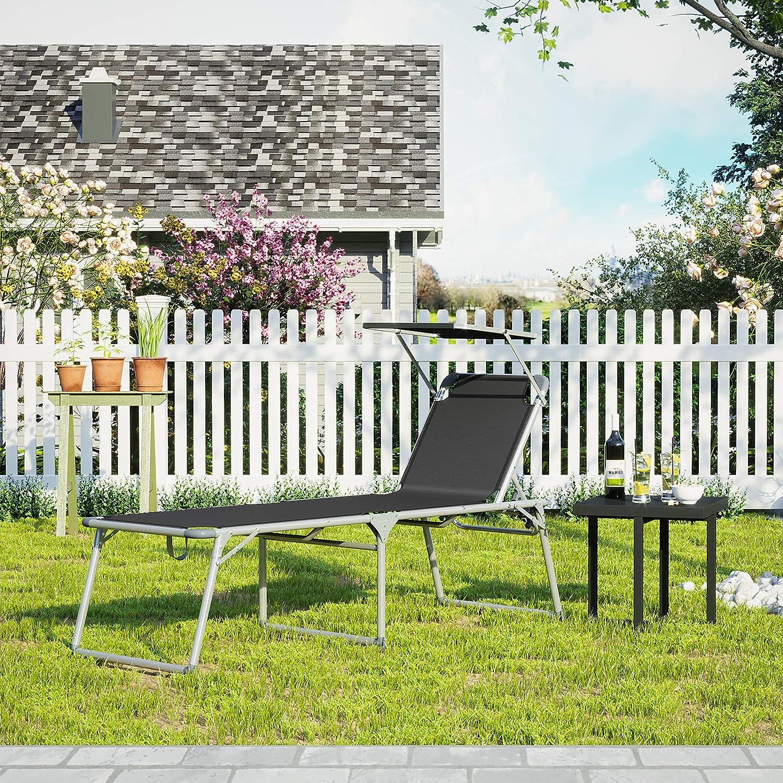 R/ückenlehne verstellbar Garten Terrasse bis 150 kg belastbar extra gro/ß 65 x 200 x 48 cm Balkon beige GCB26BE SONGMICS Sonnenliege Liegestuhl mit Sonnendach Gartenliege klappbar