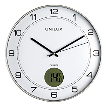 UNILUX - Reloj de pared 400094592 Tempus sin tictac, 2 en 1, con pantalla