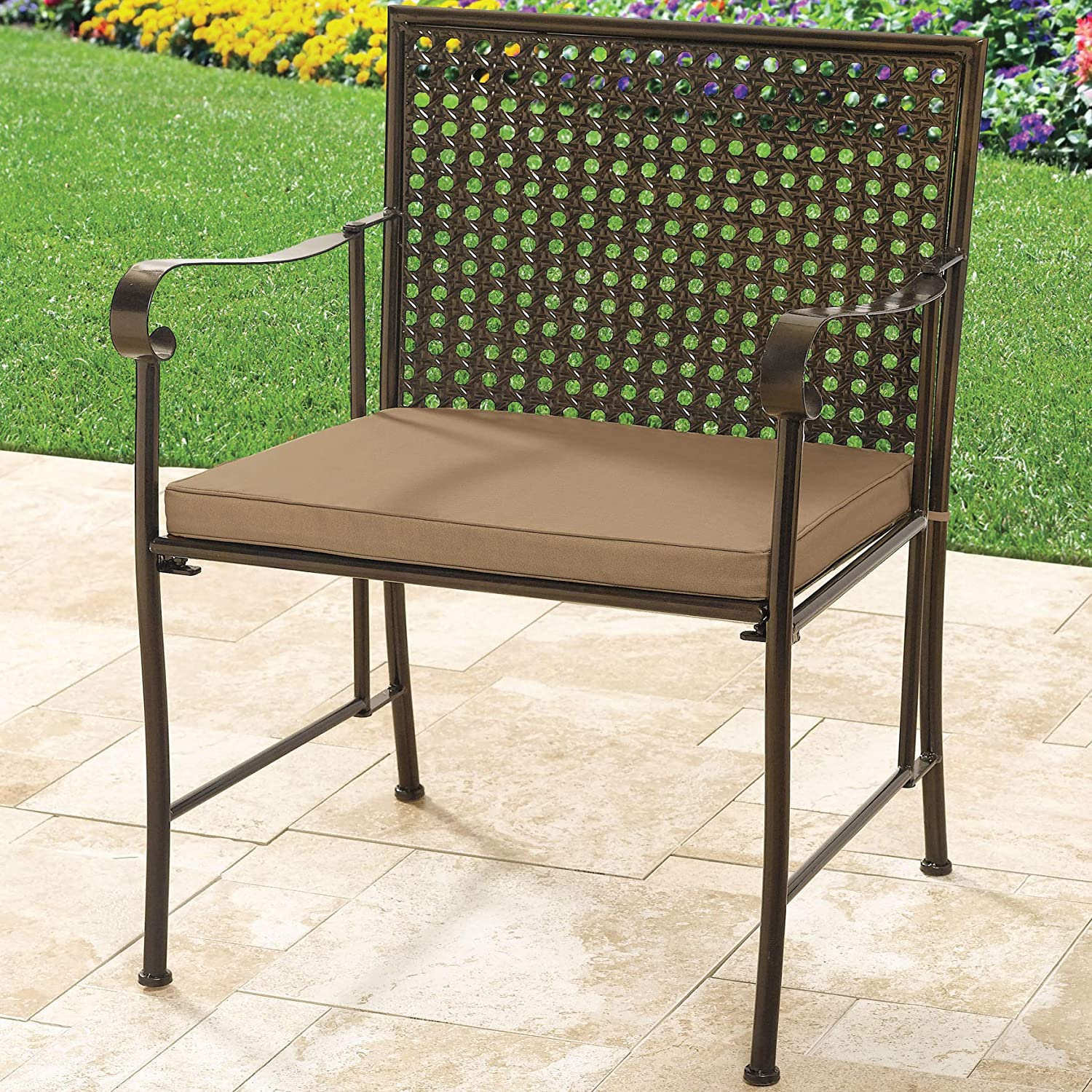 BrylaneHome Extra Wide Metal Folding Chair – Taupe
