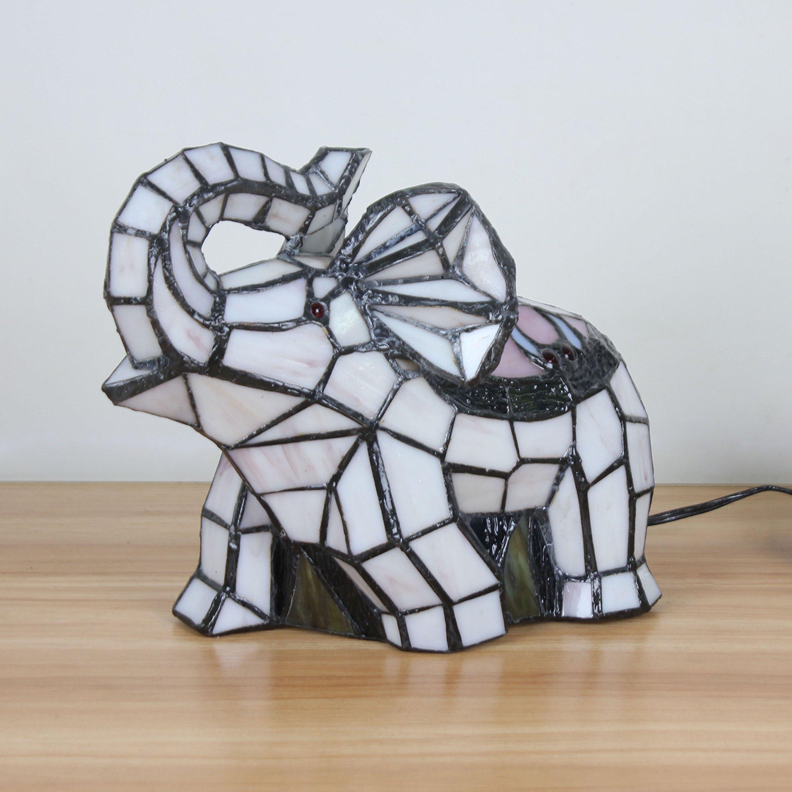 Royal-Tiffany Style Fresh Pastoral White Elephant Table Lamp Children's Lamp Night Light by Animal Night Light (Image #3)