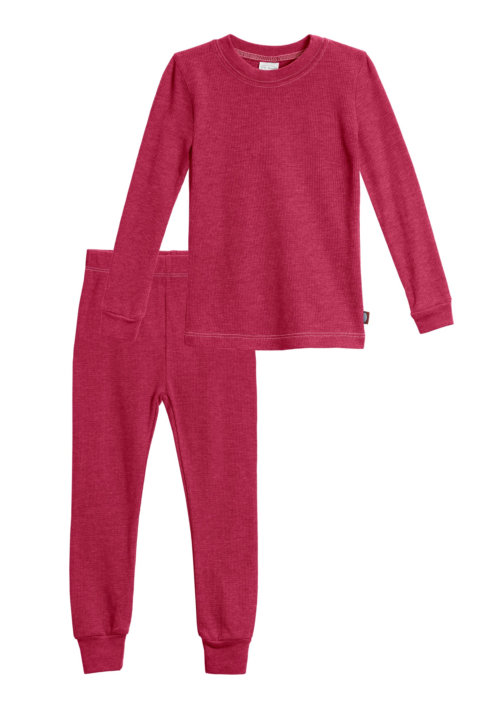 City Threads Little Girls Thermal Underwear Set Perfect for Sensitive Skin SPD Sensory Friendly, Red- 3T by City Threads