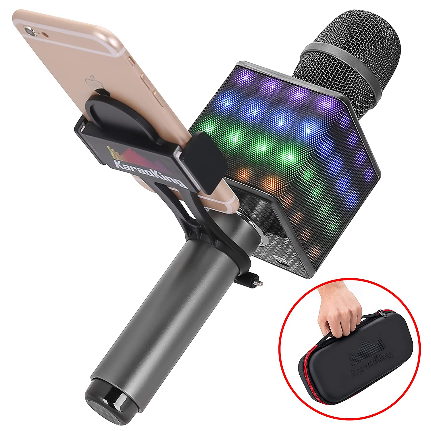 Wireless Bluetooth Karaoke Microphone - Portable KTV Karaoke Machine with Speaker, LED Lights and Bonus Phone Holder Perfect for Pop, Rock n Roll Parties, Solo Parties and More (H8 2.0 Dark Gray) KaraoKing HG1