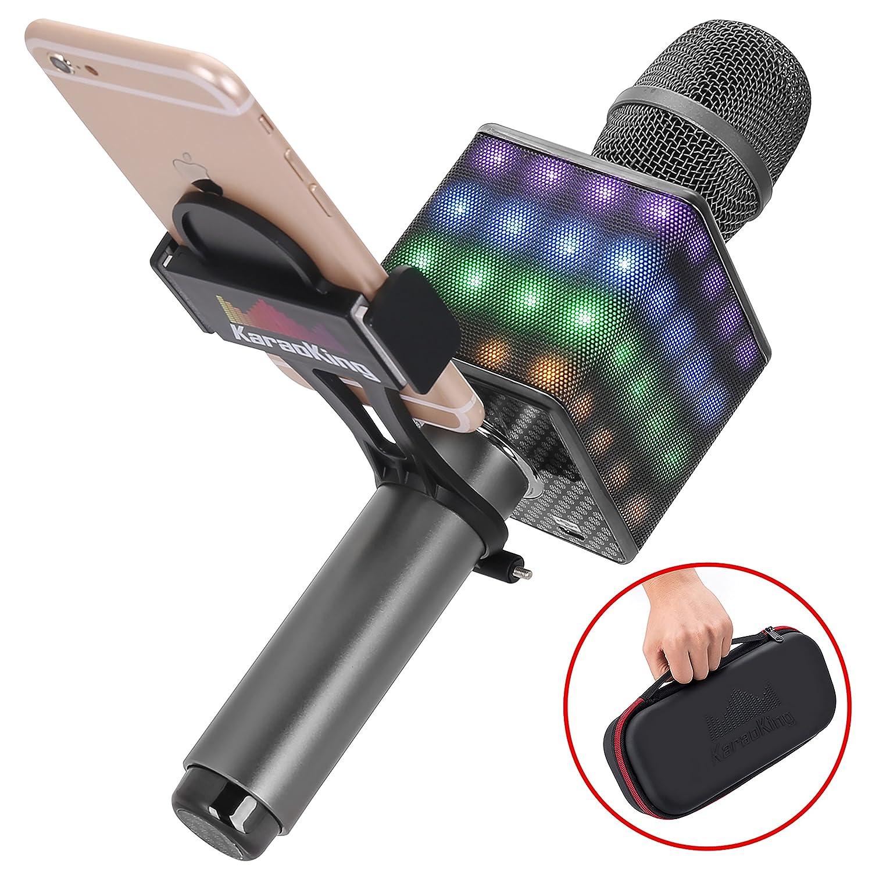 Wireless Bluetooth Karaoke Microphone - Portable KTV Karaoke Machine with Speaker, LED Lights & Free Phone Holder Perfect for Pop, Rock n' Roll Parties, Solo Parties & More (H8 2.0 Rose Gold) Rock n' Roll Parties KaraoKing 10765367