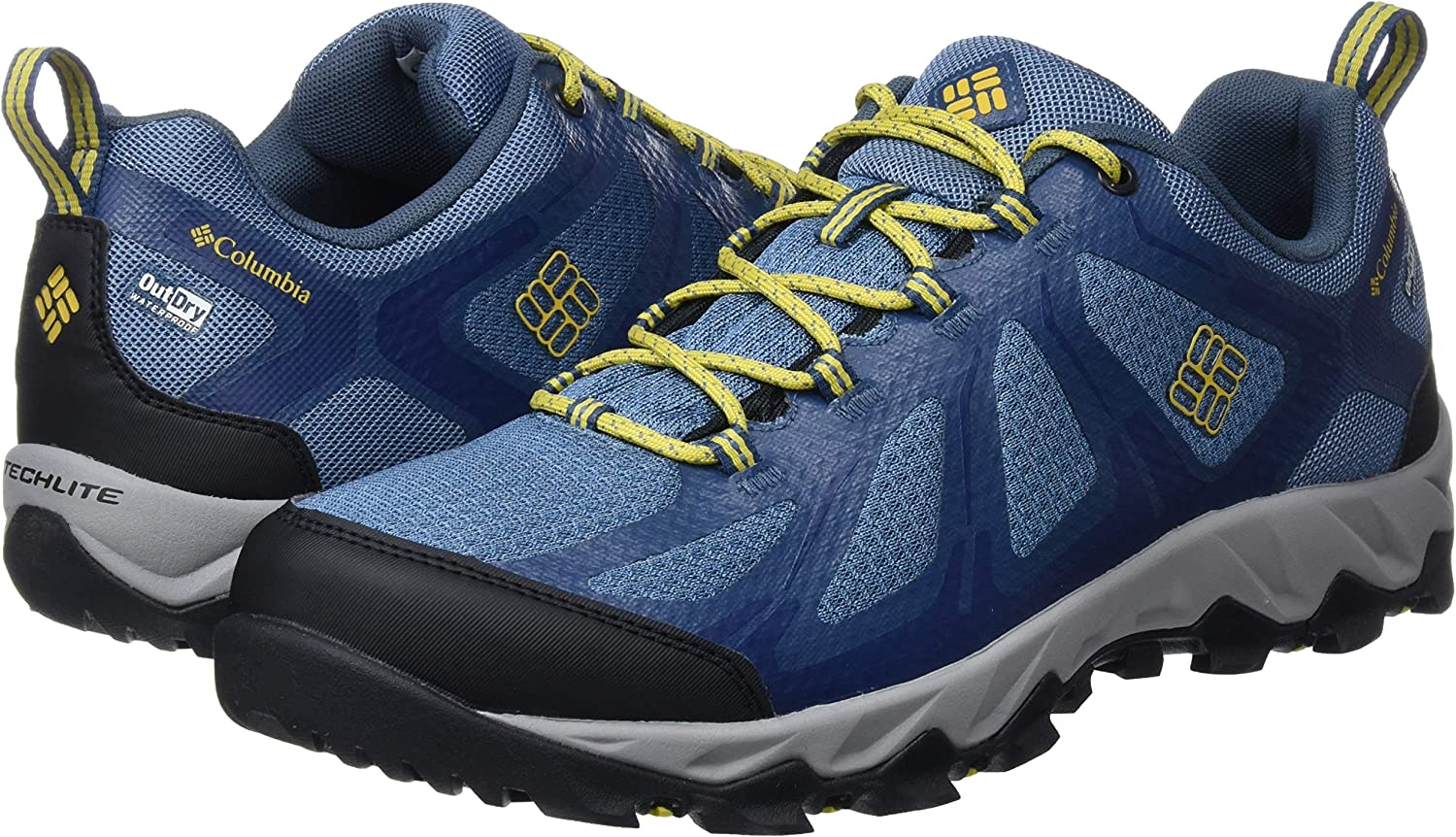 Columbia Homme Chaussures Multisport, Imperméable, PEAKFREAK XCRSN II XCEL LOW OUTDRY, Taille 41, Bleu (Steel, Antique Moss)
