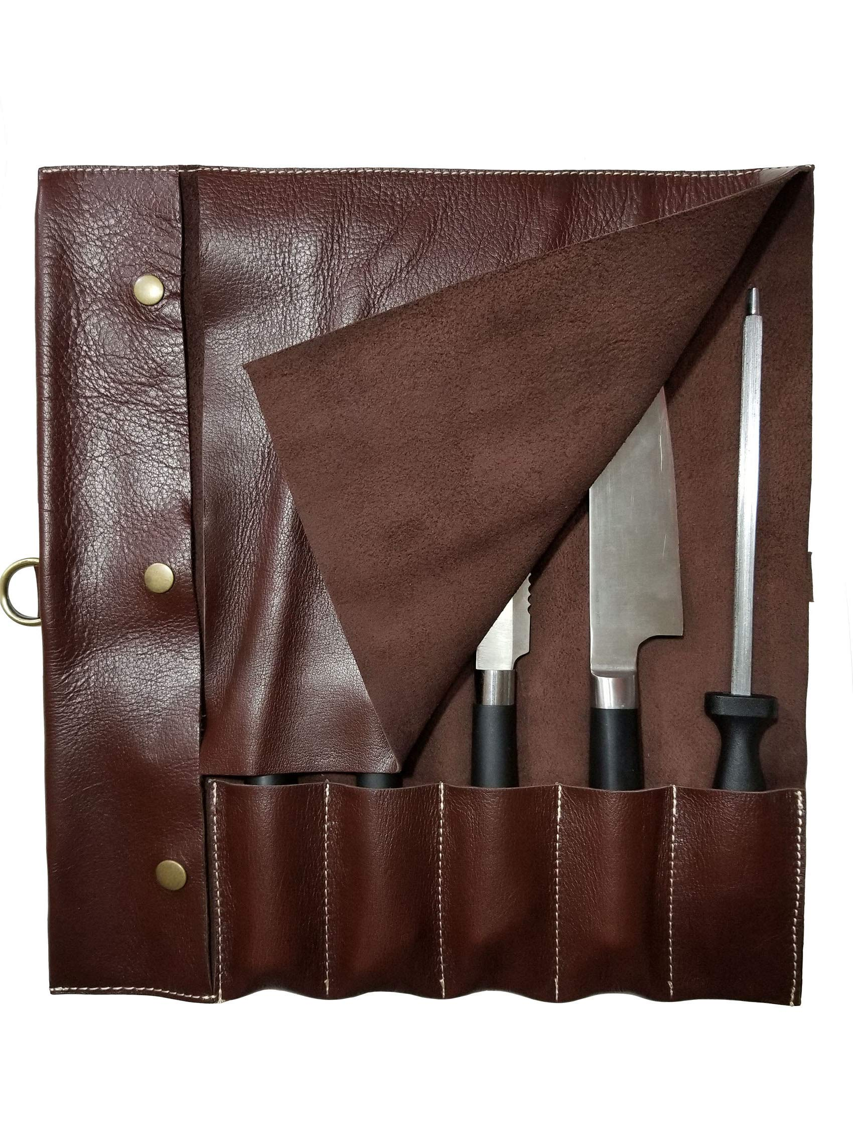 PROFESSIONAL CHEF Lightweight Genuine Premium MAROON Leather Chef Knife Bag/Knife Roll 5 Pockets SpaceKB06