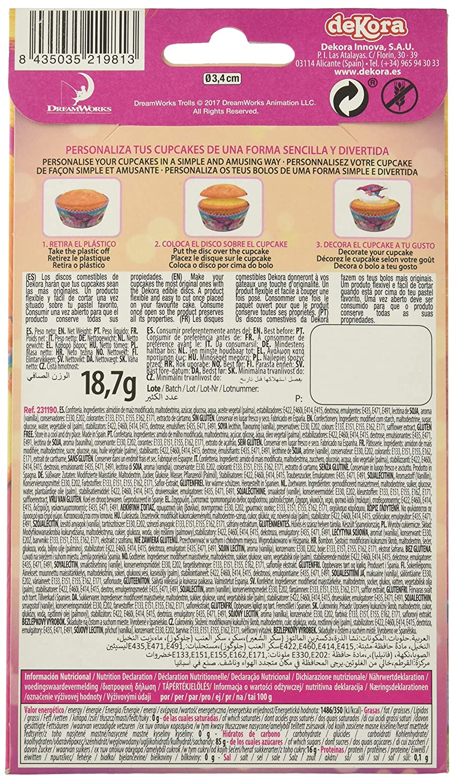 Dekora - 12 Mini Disco Comestible de Trolls la Pelicula para Cupcakes, Muffins o Magdalenas de 3,4 cm de Diametro: Amazon.es: Alimentación y bebidas