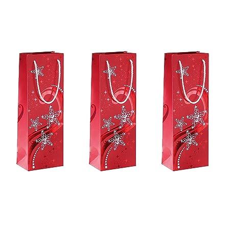 Sigel GT109 Bolsa para regalos de Navidad para botellas, Wave, con estampación en caliente roja y blanca, papel, 210 g, 125x360x85 mm, 3 unds.