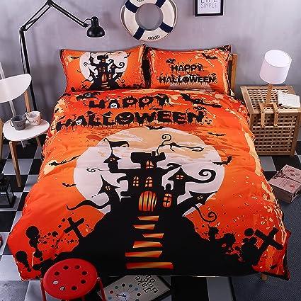 creative blazing halloween clear 3d bedding set sanding 4 pieces reactive printing quilt cover flat sheet