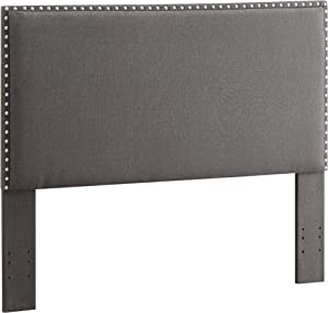 Benjara Wooden Full Queen Size Headboard with Nail head Trim Details, Gray