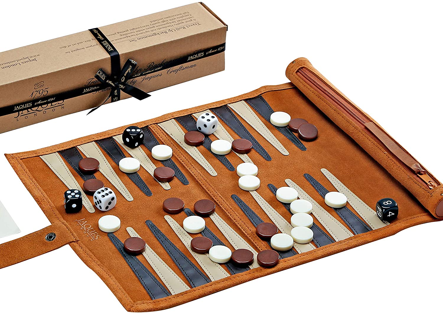 Jaques of London Backgammon Set - Traditional Tan Design - Luxury Genuine  Leather Backgammon Set - Travel Backgammon Set Inc  Gift Packing Quality
