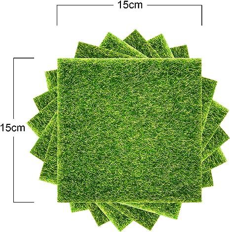 Pangda - Césped artificial de jardín, fragmentos de 15 x 15 cm, perfectos para decorar o preparar pequeños jardines (paquetes de 8 unidades): Amazon.es: Jardín