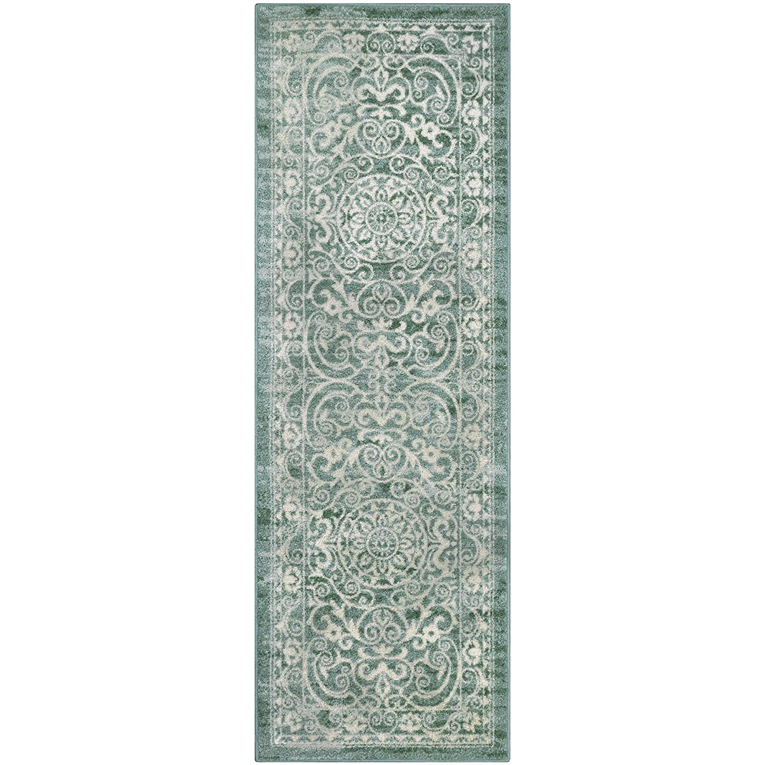 Maples Rugs Runner Rug - Pelham 24'x72' Non Skid Hallway Carpet Entry Rugs Runners [Made in USA] for Kitchen and Entryway, Grey/Blue AG4055702