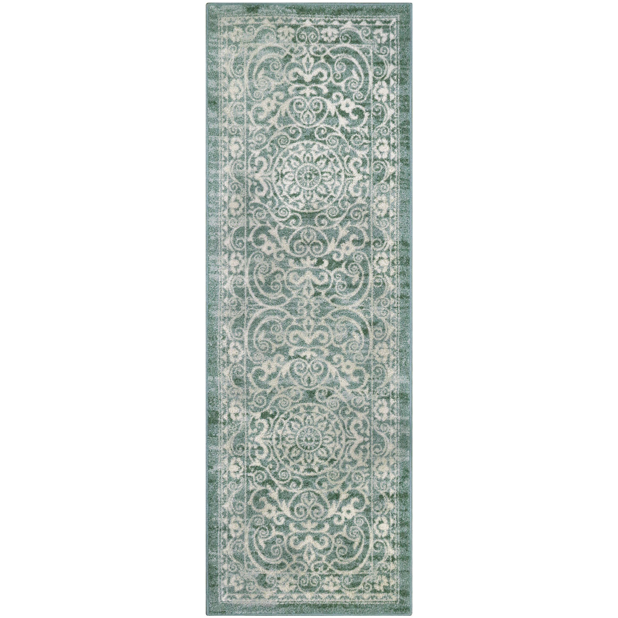 Maples Rugs Runner Rug - Pelham 24'x72' Non Skid Hallway Carpet Entry Rugs Runners [Made in USA] for Kitchen and Entryway, Light Spa