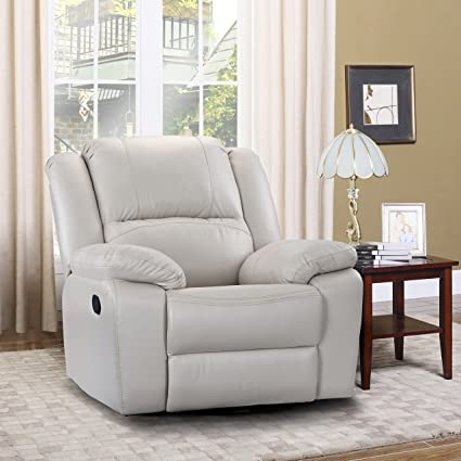 Oversize Ultra Comfortable Air Leather Fabric Rocker And Swivel Recliner  Living Room Chair (Ivory)