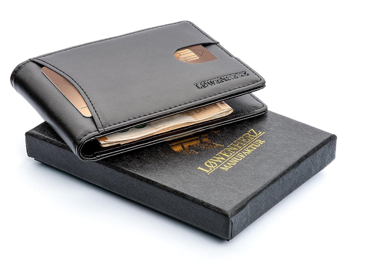 LØWENHERZ Leder Kreditkartenetui mit Geldklammer und NFC / RFID Schutz in schwarz - Herren Kartenhalter schmal mit Geldspange 001