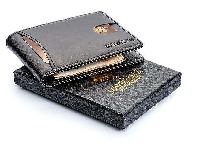 LØWENHERZ - Cartera negra piel plegable con tecnología de bloqueo RFID para hombre, billetera para tarjetas de crédito con clip para billetes: Amazon.es: ...