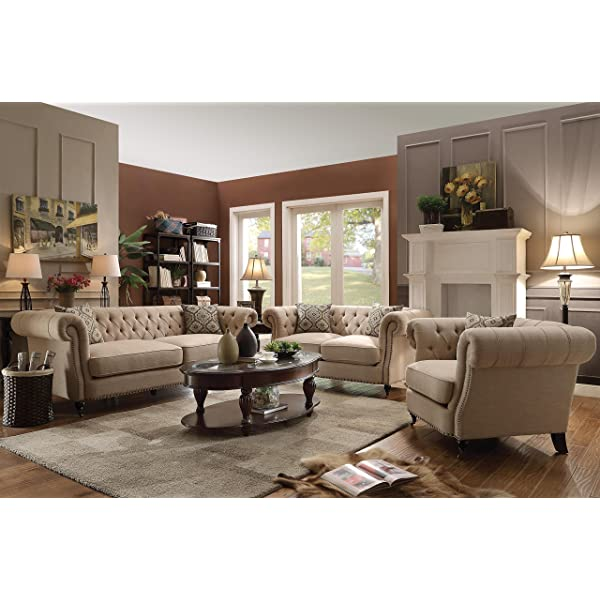 Trivellato Button Tufted Loveseat with Large Rolled Arms and Nailheads Oatmeal