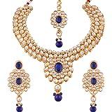 I Jewels Traditional Gold-Plated Kundan Choker Jewellery Set For Women -Blue (Ij319Bl)