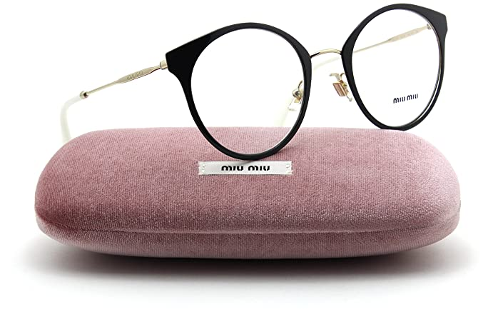 b93dcb07dac6 Miu Miu MU 51PV Women Eyeglasses Gold Black RX-able Frame 1AB1O1 50 mm