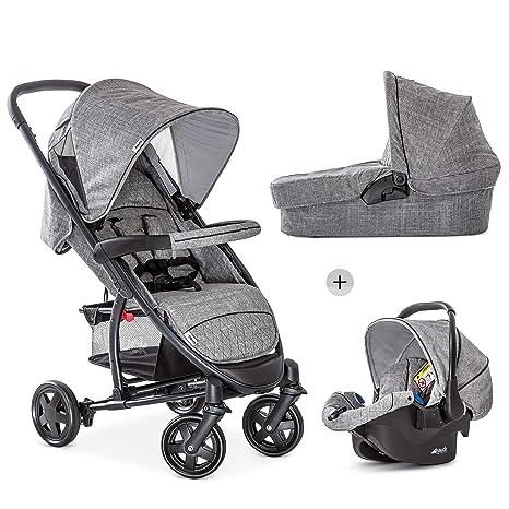 Hauck Malibu 4 Trio Set - 3 en 1, sistema de viaje funcional y ligero, Grupo 0, capazo con colchoncito, silla deportiva reclinable, desde nacimiento, ...