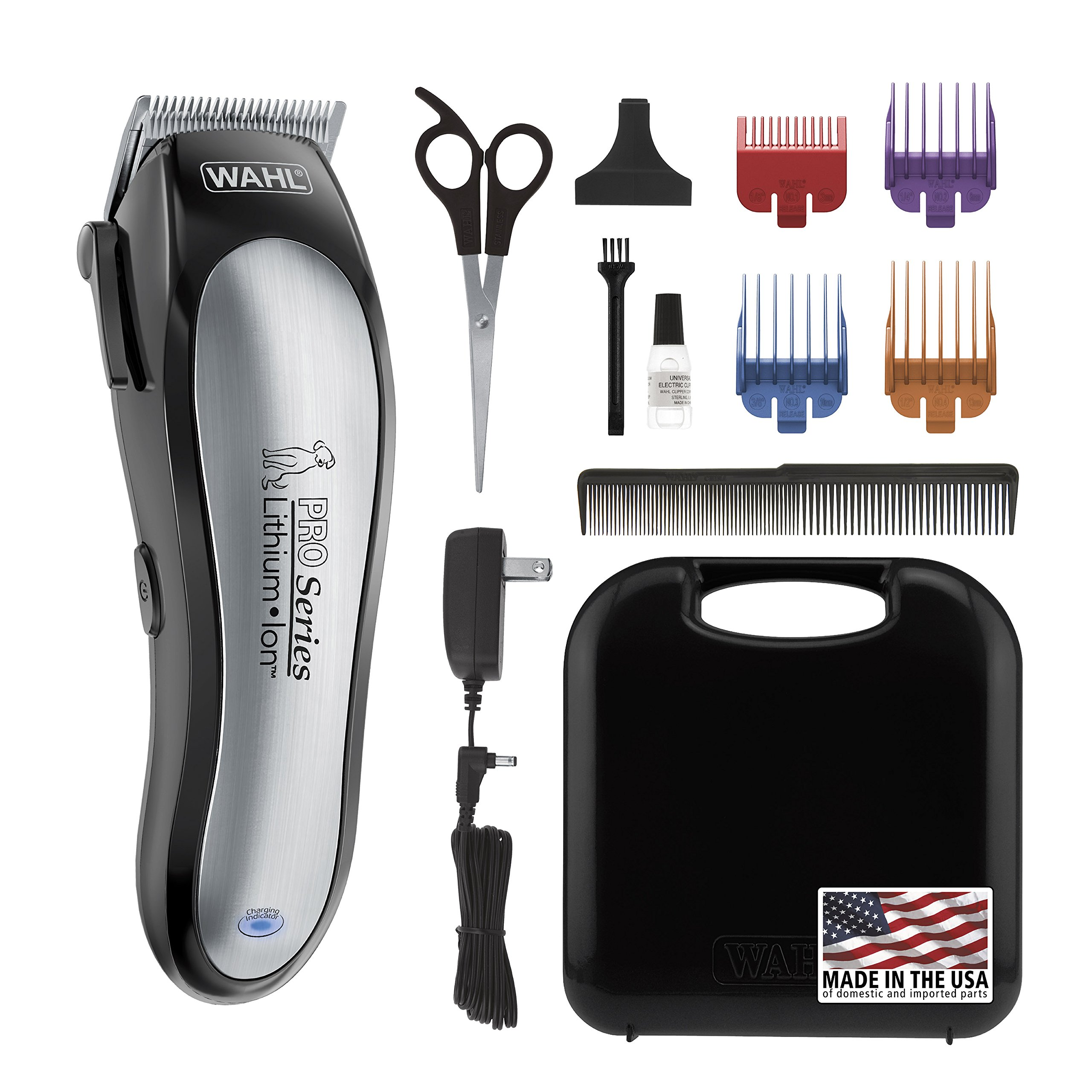 WAHL Lithium Ion Pro Series Cordless Animal Clippers - Rechargeable Quiet Low Noise Heavy-Duty Electric Dog & Cat Grooming Kit for Small & Large Breeds with Thick & Heavy Coats - Model 9766 by WAHL