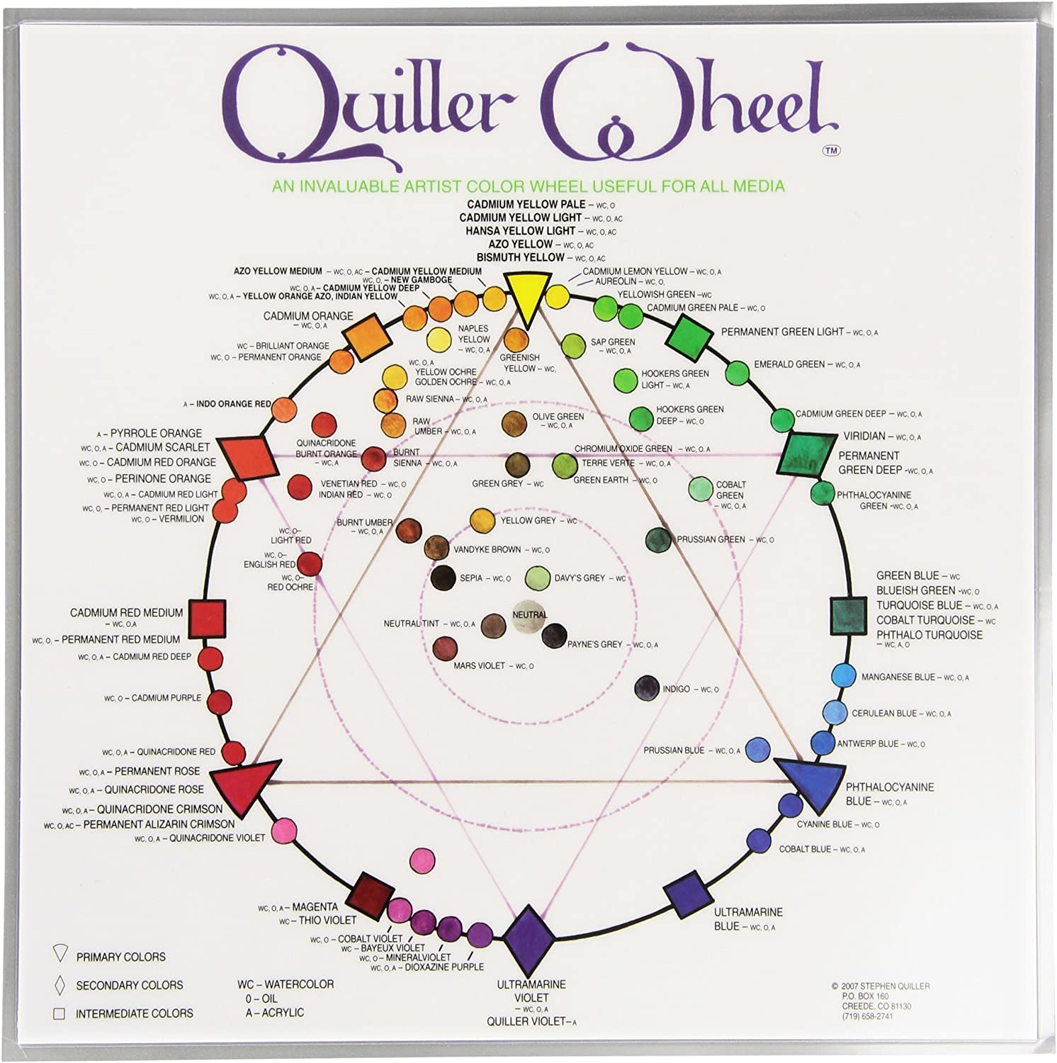 Jack Richeson JACK-499987 Quiller Color Wheel for All Media by Stephen Quiller, 8.5 by 8.5-Inch