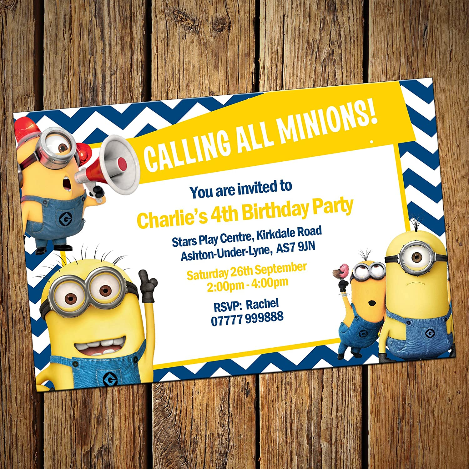 minions party invitations envelopes personalised invites pack