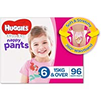 Huggies Ultra Dry Nappy Pants, Girls, Size 6 Junior (15+kg), 96 Count