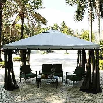 ZEARO cenador Gazebo de jardín plegable 3 x 4 m tienda de campaña de Luxe con cortinas paredes terraza Gazebo kioske Gazebo toldo A corte Parque: Amazon.es: Jardín