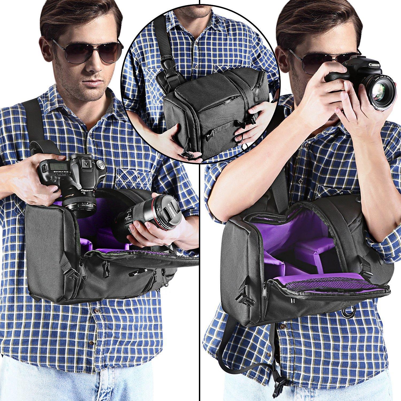 Neewer Sac /à Dos Appareil Photo Housse Etui de Cam/éra Imperm/éable pour Nikon Canon Sony Autres DSLR et Objectif Tr/épied Accessoires Sac de Cam/éra Durable Anti-d/échirure Int/érieur Vert