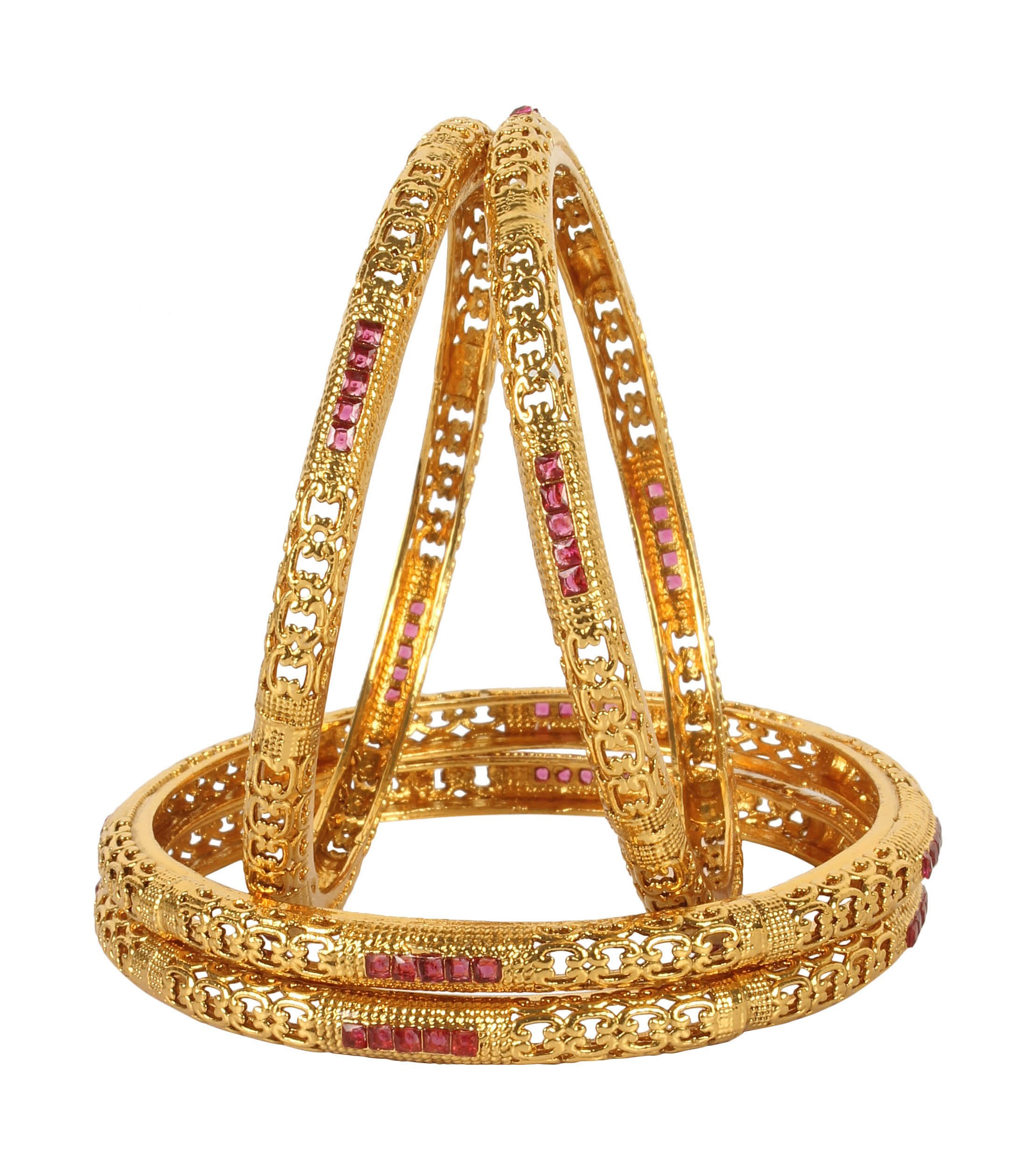 MUCH-MORE Unique Style Gold Tone Polki Indian Bangles Traditional Jewelry (339, 2.8)