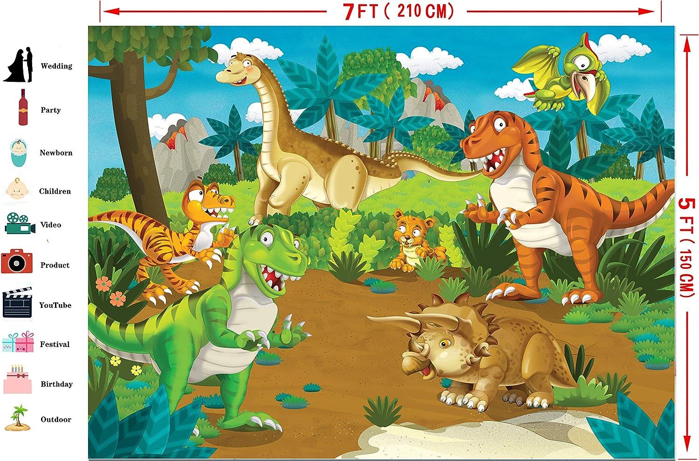 FiVan Dinosaurs Birthday Banner Photo Backdrop Children Birthday Party Photography Background Vinyl Cartoon Decoration FT-7355
