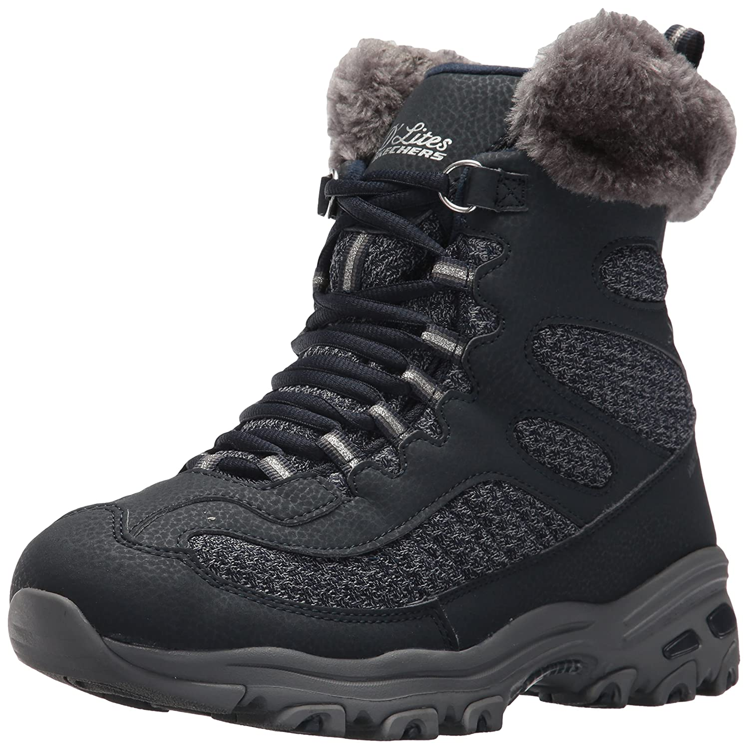 Skechers Women's D'Lites Plaza W Snow Shoe B071FFWFG8 11 W US|Navy