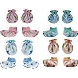 MY BABY Unisex Mittens and Booties Combo of 8 pairs (Multi-color - 0-6 Months) (Design & Color May Vary)