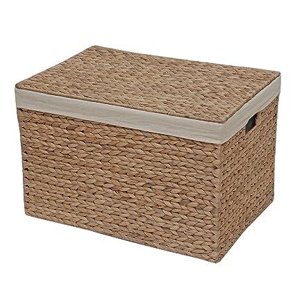 Caja de almacenamiento de mimbre, cofre forrado, natural, Small - L 41 x