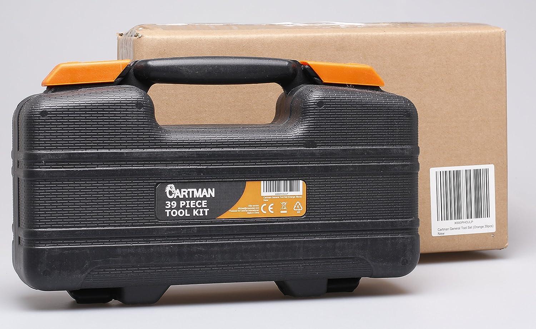 26593928f3b Amazon.com  CARTMAN Orange 39-Piece Tool Set - General Household Hand Tool  Kit with Plastic Toolbox Storage Case  Automotive