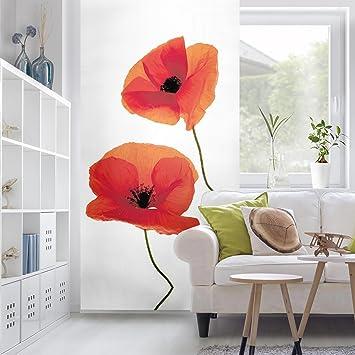 Flächenvorhang Set Charming Poppies Pflanzen Blumen Mohnblumen