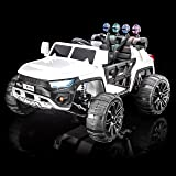 SUPERTrax WideTrack Kids Ride On Electric Car, Remote Control w/Free MP3 Player - White