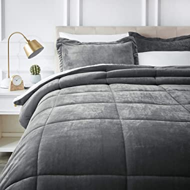 AmazonBasics Ultra-Soft Micromink Sherpa Comforter Bed Set - King, Charcoal