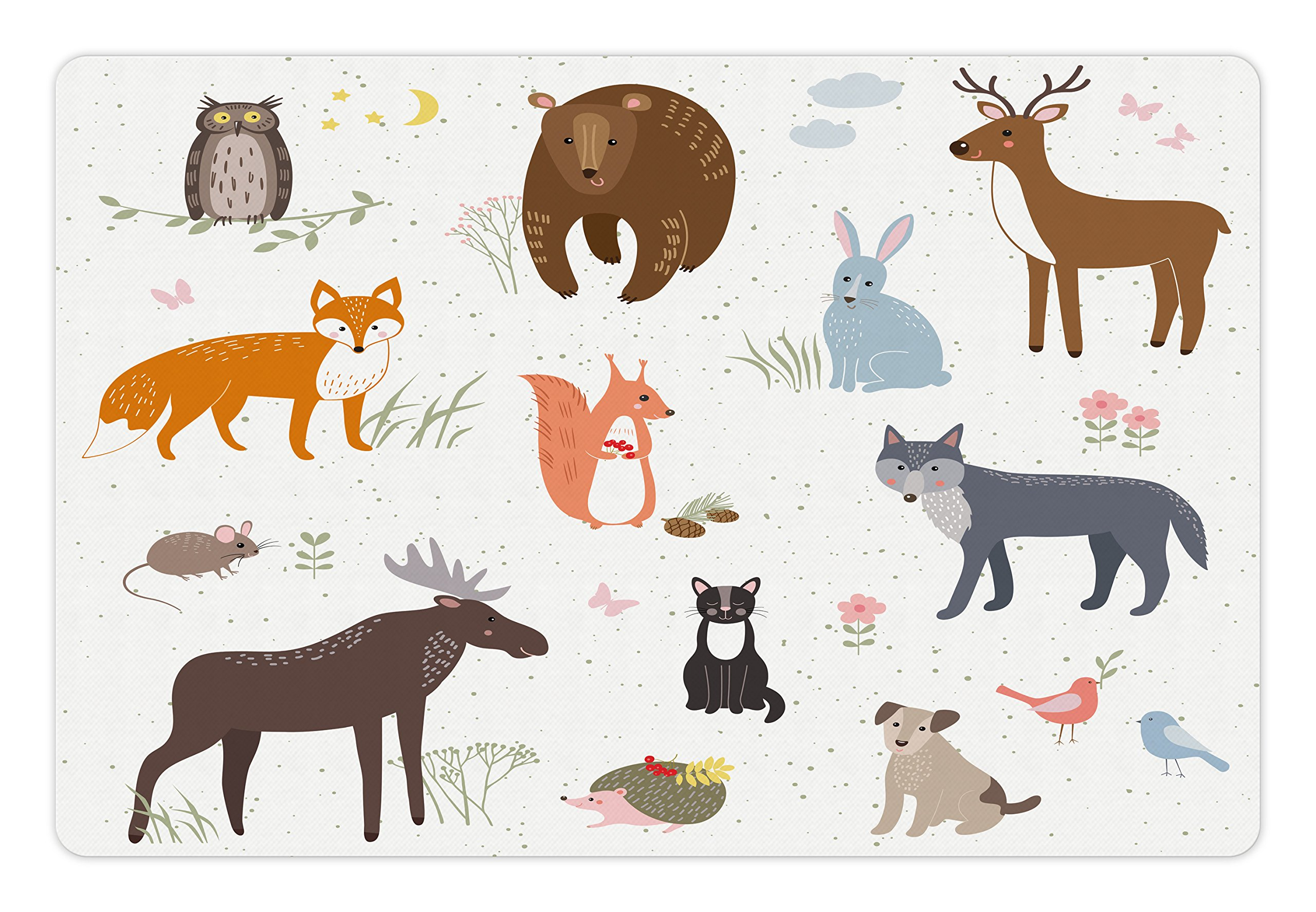 Lunarable Cabin Pet Mat for Food and Water, Cute Animals in the Springtime Meadow Childish Woodland Fauna Kids Baby Room Nursery, Rectangle Non-Slip Rubber Mat for Dogs and Cats, Multicolor by Lunarable (Image #1)