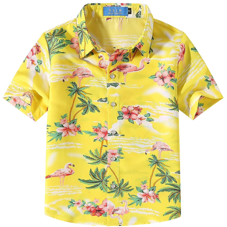 SSLR Big Boy's Pink Flamingos Button Down Casual Short Sleeve Hawaiian Shirt SN-AFD118-1