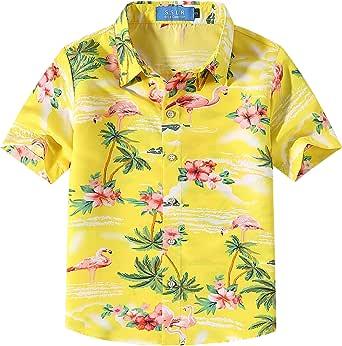 SSLR Camisa Manga Corta con Estampado de Flamencos y Flores Estilo Hawaiana para Niño
