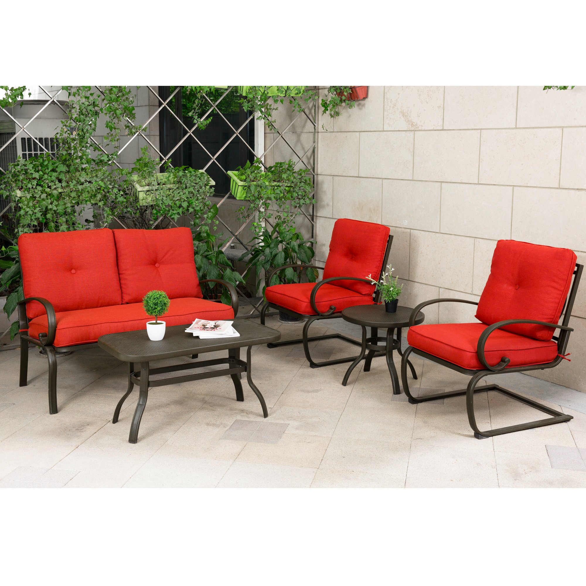 Cloud mountain 5 piece metal conversation set cushioned outdoor furniture garden patio wrought iron conversation set with coffee table loveseat sofa 2