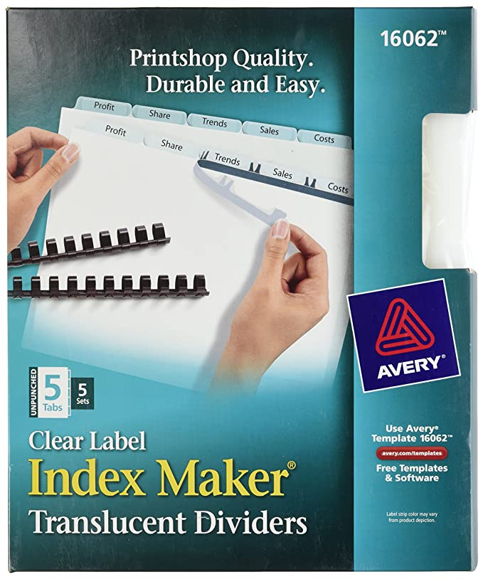 Amazon Avery 16062 Print Apply Clear Label Unpunched