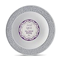 [10 Count - 12 Oz Bowls] Laura Stein Designer Tableware Premium Heavyweight Plastic White Soup Bowl With Silver Designed Border, Party & Wedding Plate lace Series Disposable Dishes
