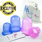 Anti Cellulite Silicone Vacuum Massage Therapy Suction Cupping Cups - Set of 4 ( 2 large + 2 Medium ) Hard & Soft CUP for Cellulite Remover & Body Massage Treatment