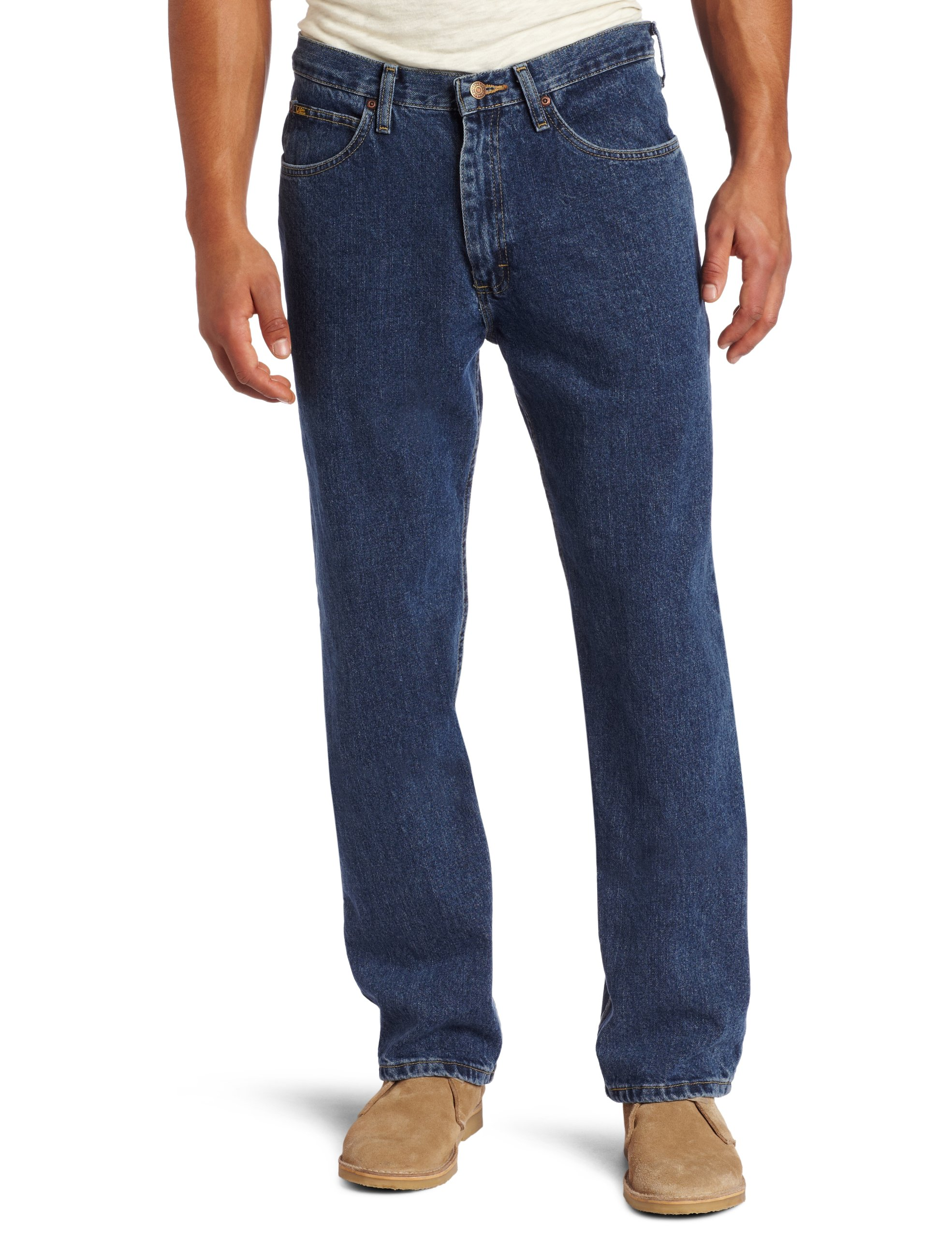 Lee Men's Relaxed Fit Straight Leg Jean, Medium Stone, 34W x 32L by LEE